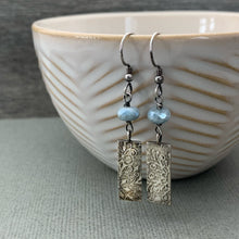 Load image into Gallery viewer, Blue Beryl and Sterling Silver Snowflake Earrings. Faceted Diamond Polish Aquamarine Beryl with Solid 925 Sterling Silver Charms