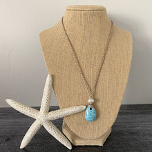 Load image into Gallery viewer, Larimar Necklace with Freshwater Pearl, Sterling Silver and Mermaid Cord