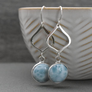 Larimar and Solid 925 Sterling Silver Earrings.