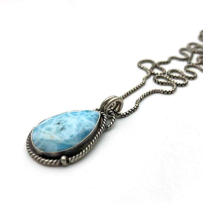 Larimar Necklace. Solid 925 Sterling Silver Silver and Genuine Faceted Blue Larimar Necklace