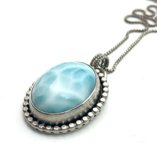 Load image into Gallery viewer, Larimar Necklace. Solid 925 Sterling Silver Silver and Genuine AAA Blue Larimar Necklace