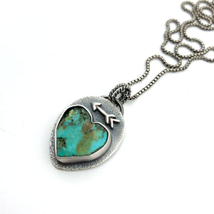Rustic Turquoise Heart Protective Arrow Pendant. Solid 925 Sterling Silver Necklace