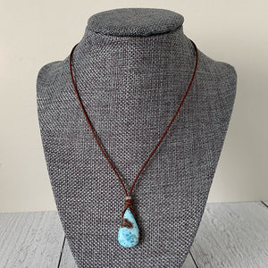 Larimar and Rustic Brown Leather Necklace with Freshwater Pearl. 17 inches