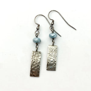 Blue Beryl and Sterling Silver Snowflake Earrings. Faceted Diamond Polish Aquamarine Beryl with Solid 925 Sterling Silver Charms