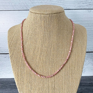 Faceted Pink Rhodochrosite and Sterling Silver Necklace