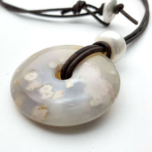 Load image into Gallery viewer, Montana Agate Long Leather Necklace. Montana Plume Agate Donut, Freshwater Pearl, Sterling Silver and Rustic Brown Leather Necklace.