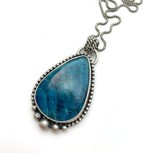 Apatite and Sterling Silver Pendant Necklace.