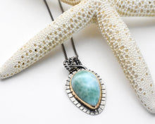 Load image into Gallery viewer, Larimar with 14k Yellow Gold Fill and Solid 925 Sterling Silver Silver Necklace. Mixed Metals Pendant