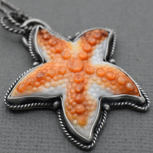 Orange Spiny Oyster Starfish and Sterling Silver Pendant. Carved Spiny Oyster Necklace.