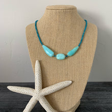 Load image into Gallery viewer, Blue Peruvian Opal, Apatite and Sterling Silver Necklace. Chalcedony