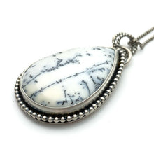 Load image into Gallery viewer, Dendritic Opal Chalcedony and Sterling Silver Necklace. Double Sided Pendant with Owl