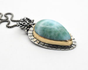 Larimar with 14k Yellow Gold Fill and Solid 925 Sterling Silver Silver Necklace. Mixed Metals Pendant
