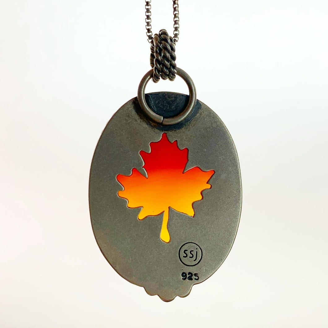 Carnelian Maple Leaf Pendant Necklace. Double Sided Ombre Red Orange Carnelian with  maple leaf cutout on back.