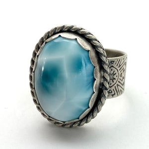Larimar and Sterling Silver Ring. Wide Textured Band. AAA Genuine Larimar Size  8.25 US