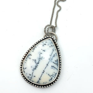 Dendritic Opal Chalcedony and Sterling Silver Necklace. Double Sided Pendant with Owl
