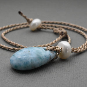 Larimar Necklace with Freshwater Pearl, Sterling Silver and Mermaid Cord