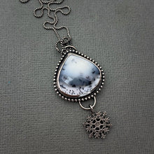 Load image into Gallery viewer, Dendritic Opal Chalcedony and Sterling Silver Snowflake Necklace.