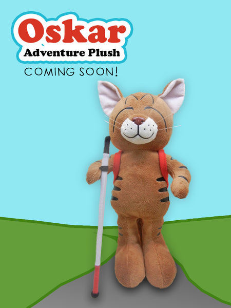 "IMAGE shows the full body of the prototype standing upright and facing forward. Behind the plush is a background of a blue sky, green field and a trail that the plush appears to be walking along. The text ""Oskar Adventure Plush - Coming Soon!"" is in the upper left corner."