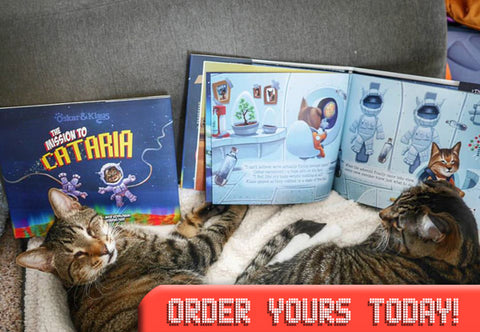 Image of Oskar & Klaus reading their new book. Oskar & Klaus: The Mission to Cataria.