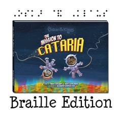 "Mission to Cataria Book Cover with text, ""Braille Edition"""