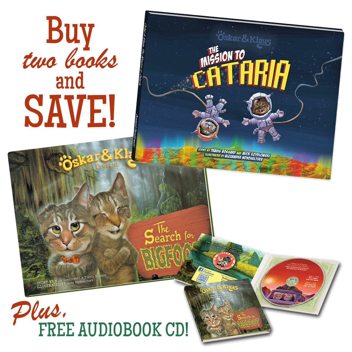 Oskar & Klaus Adventure Book Set - Bigfoot & Cataria Books + Audiobook