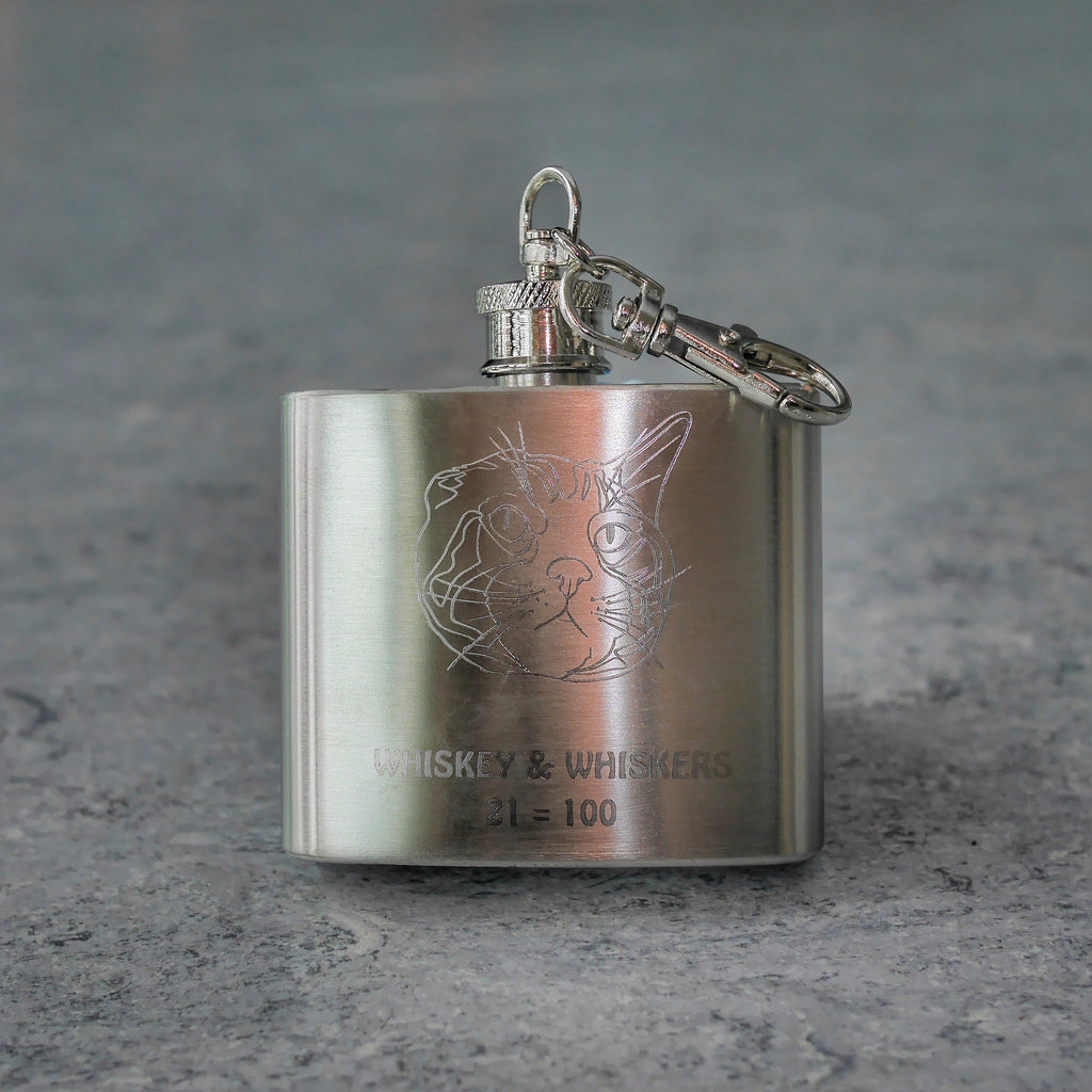 SOLD OUT (for now): Whiskey & Whiskers Stainless Steel Keychain Flask