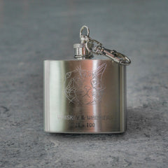 SOLD OUT AGAIN! Whiskey & Whiskers Stainless Steel Keychain Flask