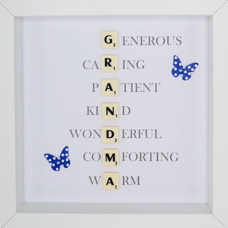 Grandma Scrabble Letter Tile Initials Boxed Frame | MadeWithaSmile