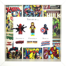Load image into Gallery viewer, Deadpool, Iron Man & Captain America Minifigure Marvel Comics Boxed Frame | MadeWithaSmile