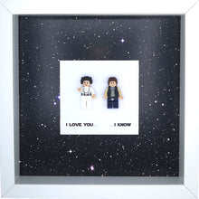 Load image into Gallery viewer, Hans Solo Princess Leia Minifigure Star Wars Boxed Frame | MadeWithaSmile