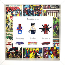 Load image into Gallery viewer, Spiderman, Wolverine & Deadpool Minifigure Marvel Comics Boxed Frame | MadeWithaSmile