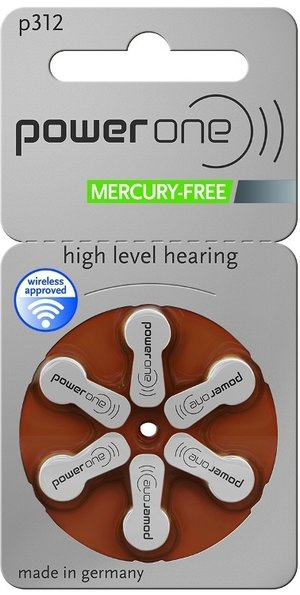 Power One Hearing Aid Batteries P312 (Pack Of 6)