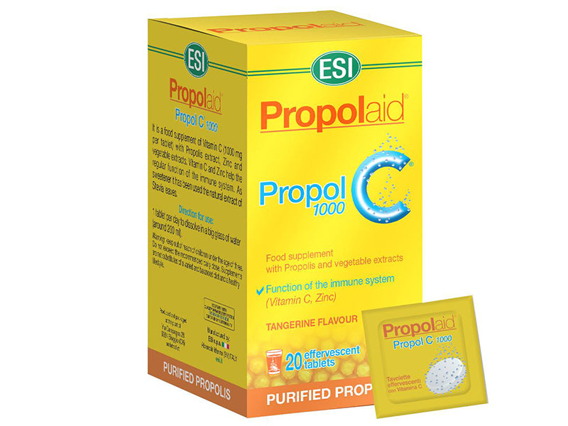 ESI Propolaid 1000mg C – 20 Tangerine Flavour Effervescent Tablets