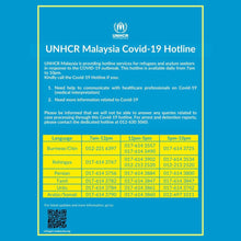Load image into Gallery viewer, UNHCR Malaysia Covid-19 Hotline