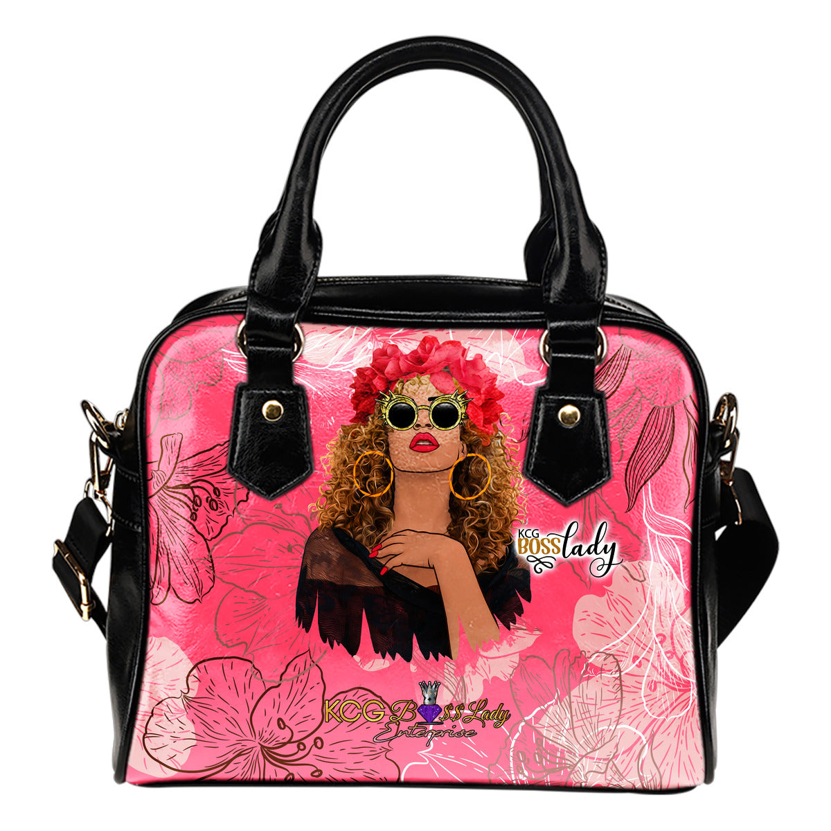 Red Flowers Boss Lady Shoulder Hand Bag