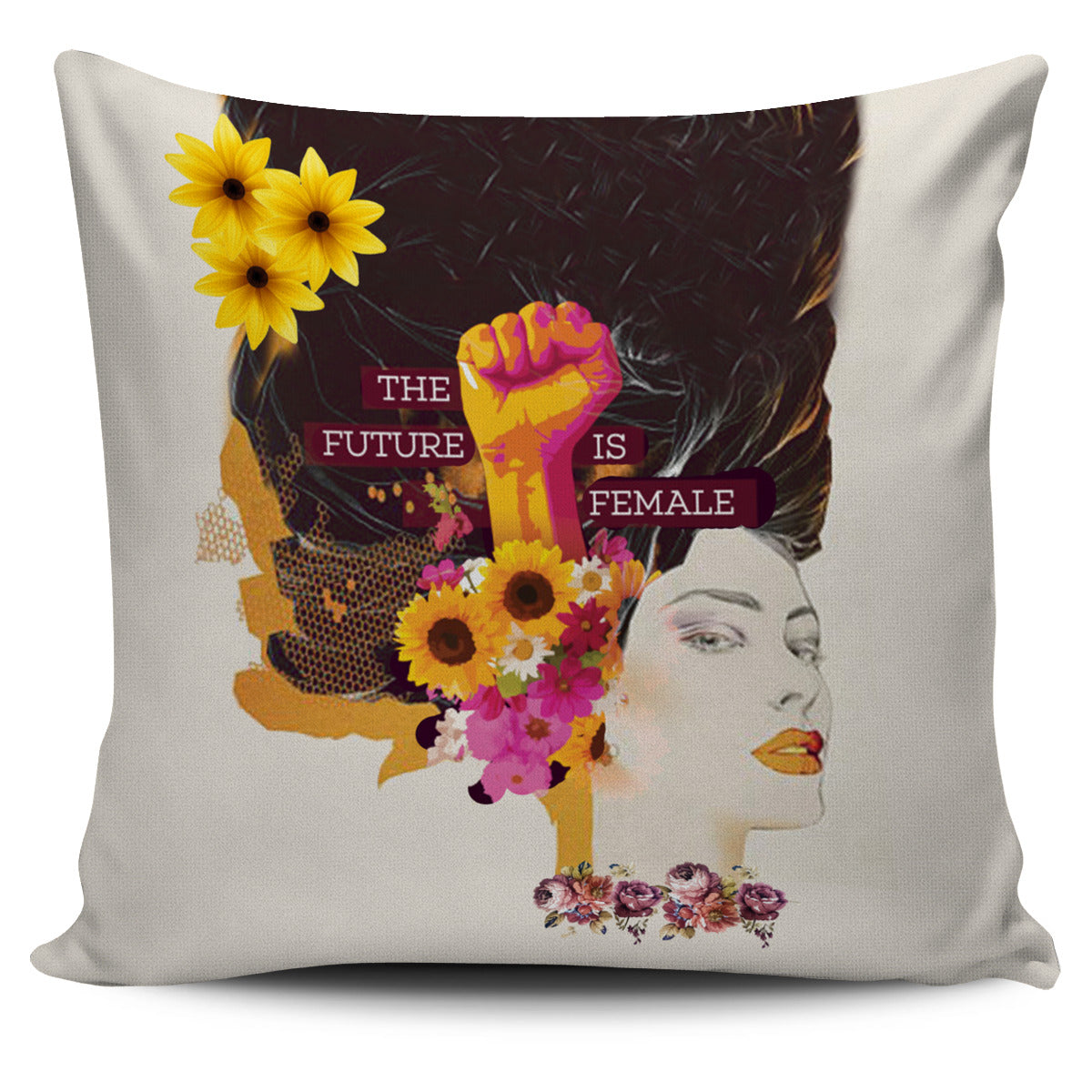 Floral Boss Lady Pillow Cover