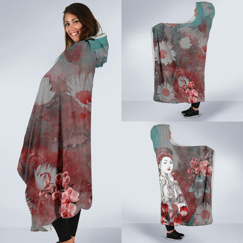 floral queen boss lady Hooded Blanket