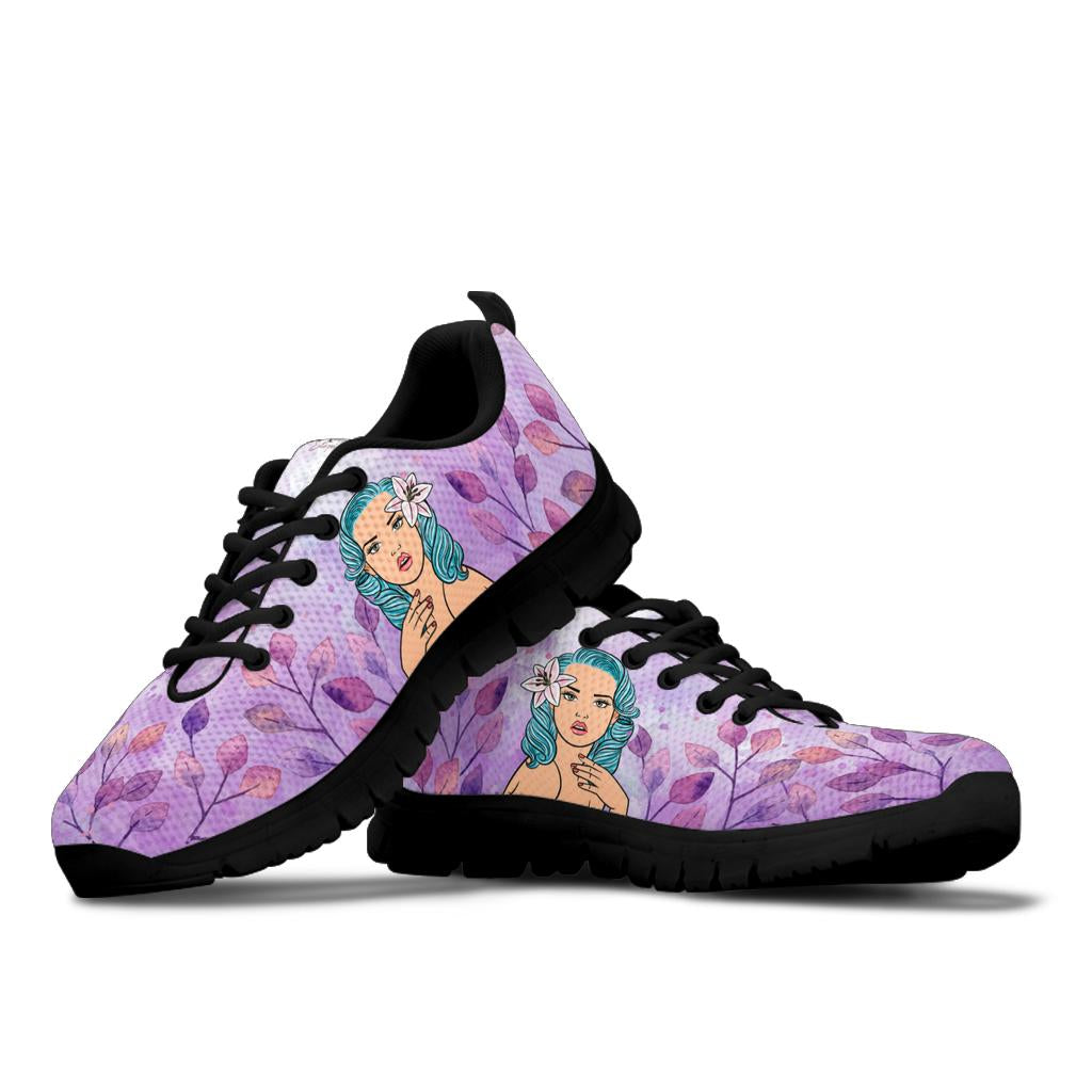 Purple Flower Lady Sneakers