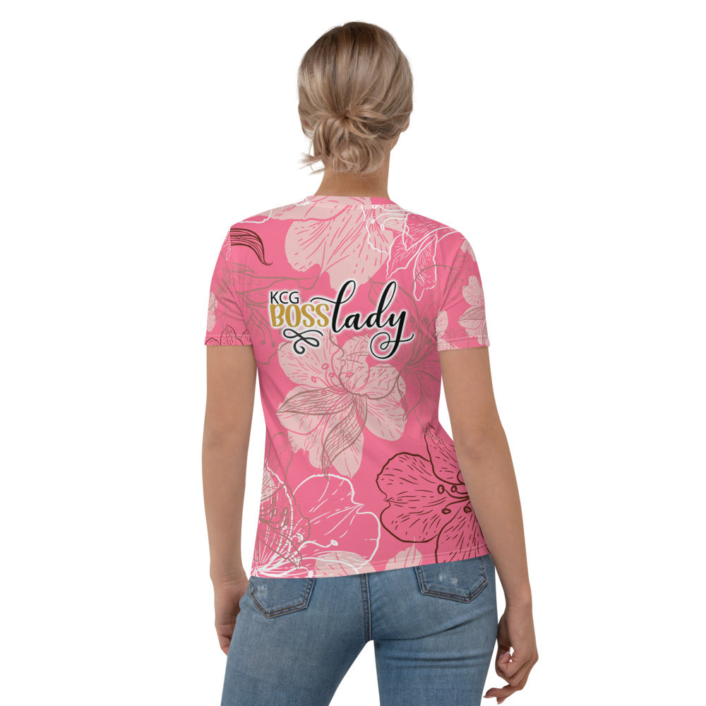 Red Flowers Boss Lady  T shirt
