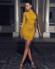 Starlight Gold Metallic One Sleeve Dress - BLK PYTHON BOUTIQUE
