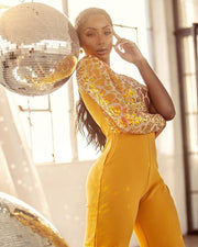 Rheanna Sequined One Sleeve Yellow Jumpsuit - BLK PYTHON BOUTIQUE