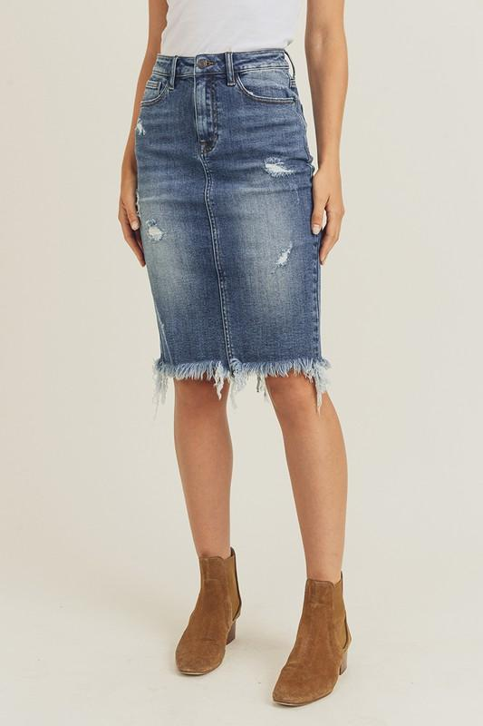 Taylor Midi Denim Skirt - BLK PYTHON BOUTIQUE