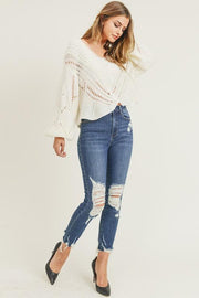 HALLE DISTRESSED RAW HEM SKINNY JEANS - BLK PYTHON BOUTIQUE