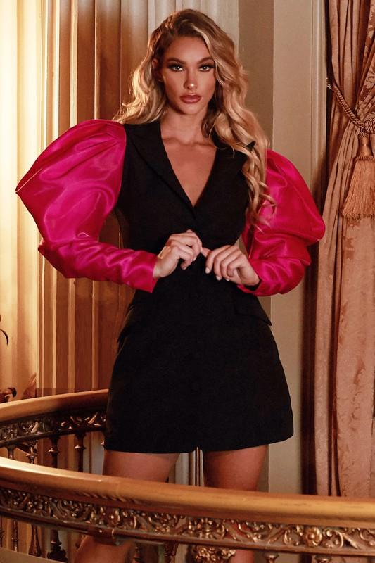 Jayne Pink Sleeve Power Blazer Mini Dress - BLK PYTHON BOUTIQUE