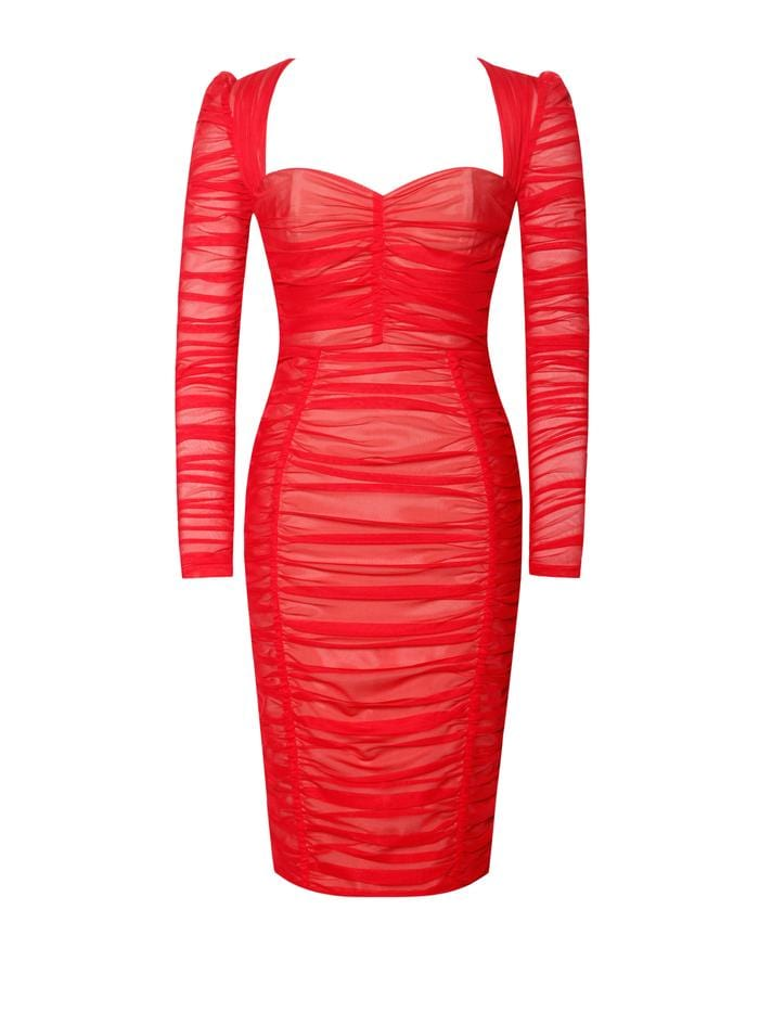 So Into You Red Chiffon Long Sleeve Ruched Dress - BLK PYTHON BOUTIQUE
