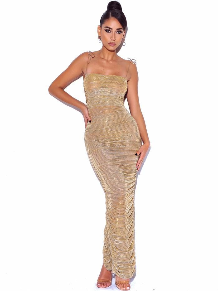 The Glint Gold Ruched Chiffon Long Maxi Dress - BLK PYTHON BOUTIQUE