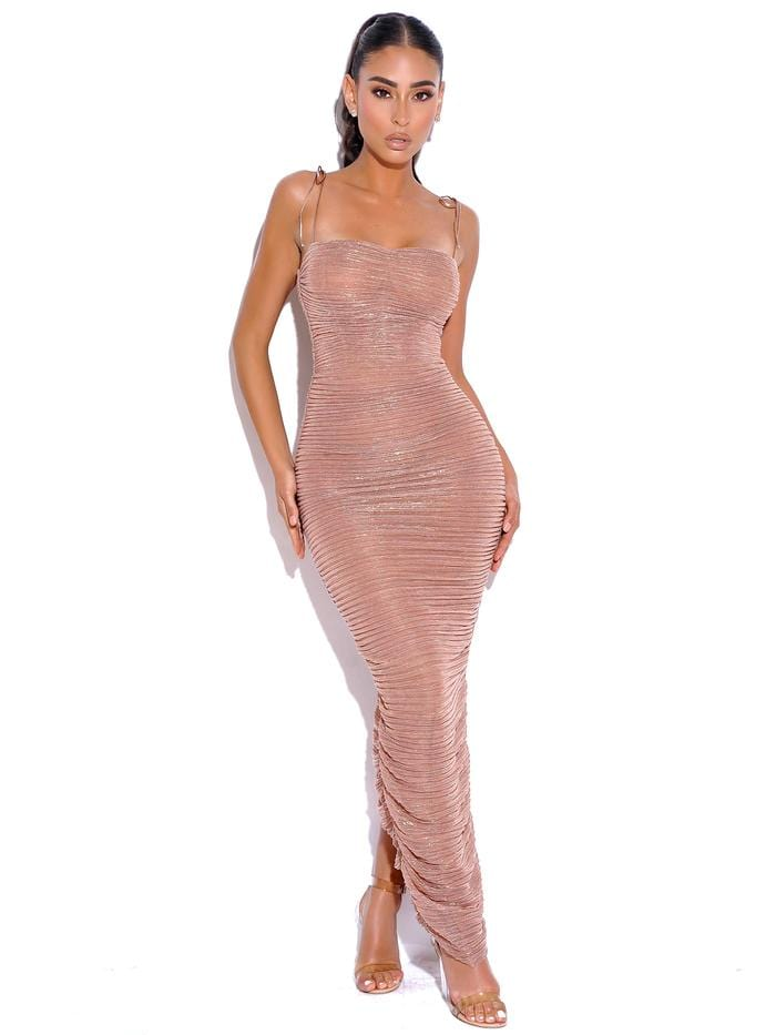 The Glint Rose Gold Ruched Chiffon Long Maxi Dress - BLK PYTHON BOUTIQUE