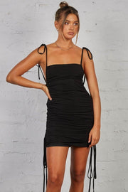 Sapphire Ruched Tie-Up Black Dress - BLK PYTHON BOUTIQUE