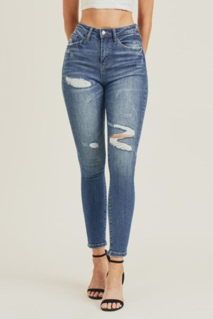 Kelce Distressed Denim Jeans - BLK PYTHON BOUTIQUE