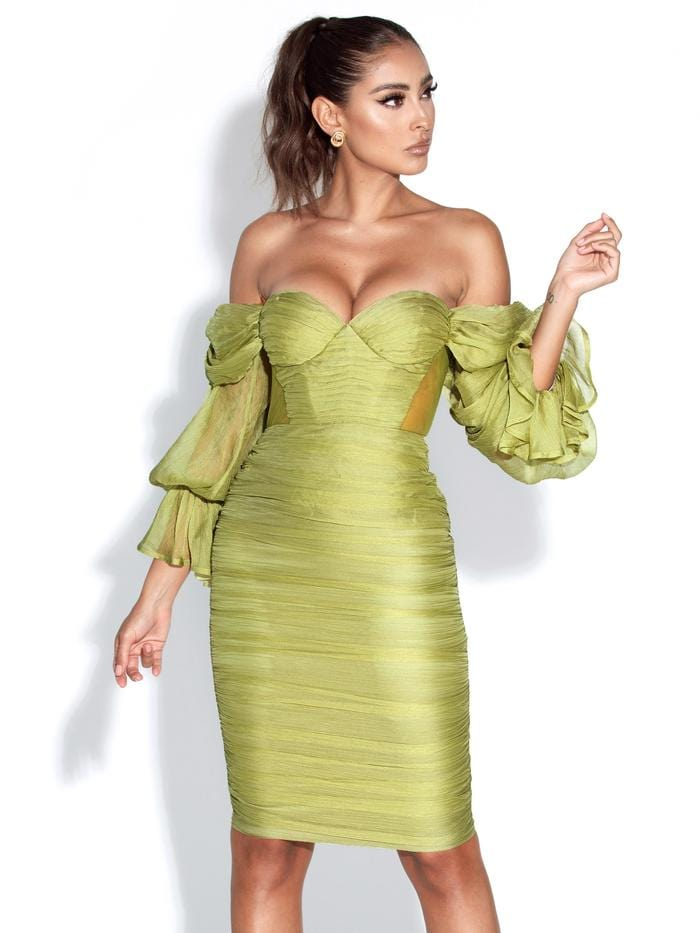 Sirene Olive Silk Pleated Off Shoulder Balloon Sleeves Dress - BLK PYTHON BOUTIQUE